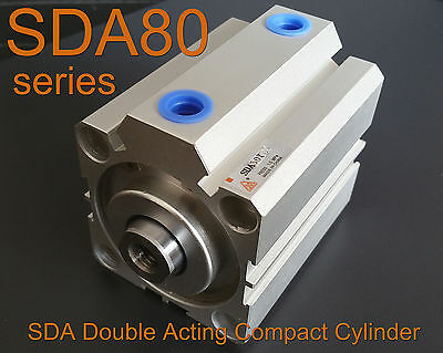High Quality SDA80 5mm-100mm Pneumatic Double Acting Compact AIR Cylinder • 25.62£
