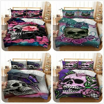 Skull Flower Duvet Cover With Pillow Cases Bedding Set Single Double King Sizes • 28.99£