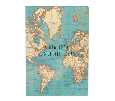 £3.29 • Buy Sass & Belle  Vintage World Map Travel A5 Notebook Note Pad Plain Paper Journal