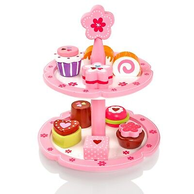 £12.50 • Buy Childrens/Kids Wooden Cakes & Stand Pretend Play-Food Playset Tea-Set Party Toy