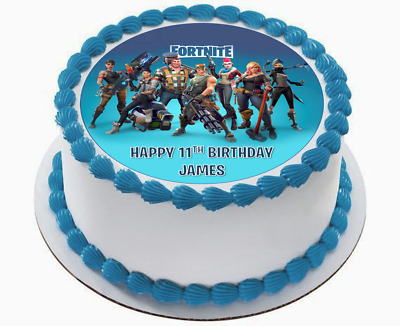 $7.99 • Buy Fortnite Edible Wafer Circle 7.5  Cake Topper Birthday Image Decoration #1