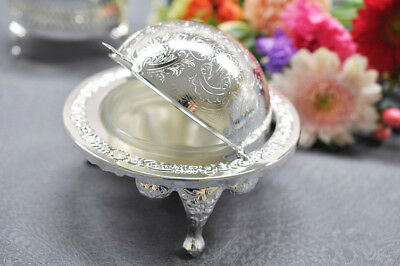 Vintage Silver Plated Revolving Butter Dish /Globe Sugar Bowl, Caviar Dish- Gift • 15.99£