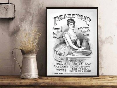 £3.99 • Buy Pears Soap Vintage Advert Bathroom Toilet Home A4 Poster Print Wall Hanging