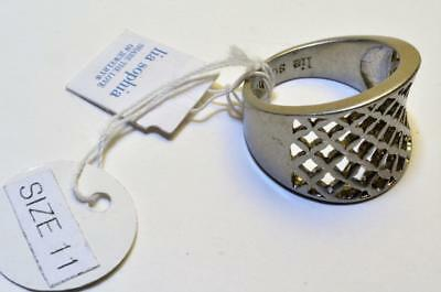 $ CDN32.65 • Buy New Tag Signed LIA SOPHIA Silvertone  TRELLIS  Textured Ring Size 11