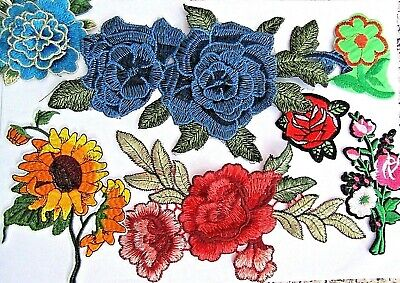 Selection Of Sew Iron On Silk Rose Flower Embellishments Motif Patch Applique  • 3.99£