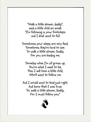 £3.79 • Buy  Inspirational Dad Fathers Day Poem Quote  A4 Poster Print  New Baby Gift
