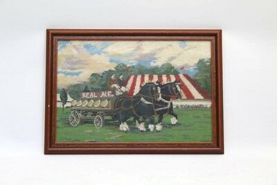 Tapestry Cross Stitch Shire Horses Pulling Beer Dray Circus Picture Glazed Frame • 18£