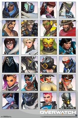 AU13.45 • Buy OVERWATCH - CHARACTER PORTRAITS POSTER - 22x34 VIDEO GAME 16691