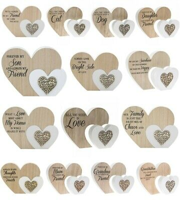 Large Sentiments Wooden Double Heart Block Plaques Ornament Gift Present Family • 8.99£