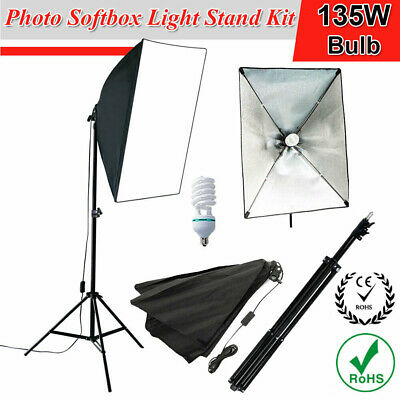 Photography Studio 135W Softbox Lighting Stand Kit Photo Video Light Stand Set • 28.94£