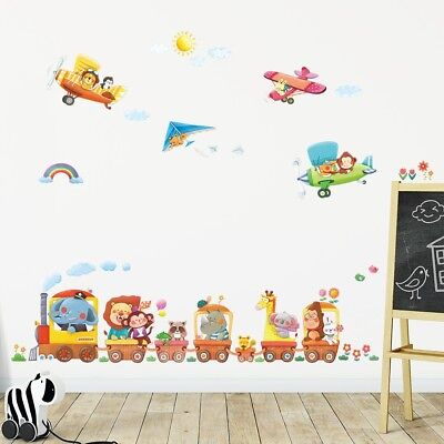 £14.95 • Buy Decowall Animal Train Airplane Kids Removable Wall Stickers Decal DAT-1406A1506B