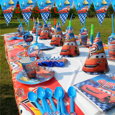 Lightning Mcqueen Cars Birthday Party Boys Tableware Decoration Cups Tablecloth • 2.14£