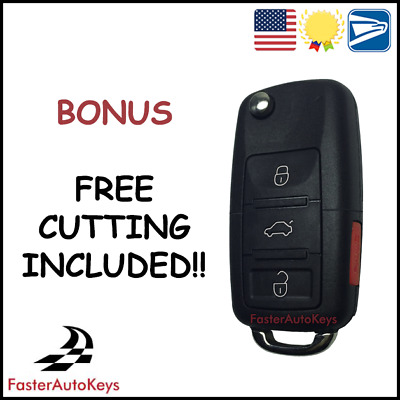 $34.95 • Buy [CUT TO YOUR CAR] Keyless Remote Flip Key Shell Case For VW Volkswagen