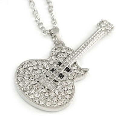 $ CDN12.10 • Buy Statement Crystal Guitar Pendant With Long Chunky Chain In Silver Tone - 68cm L