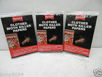 3 X  Packs Of 10 Rentokil Clothes Moth Killer Papers • 11.75£