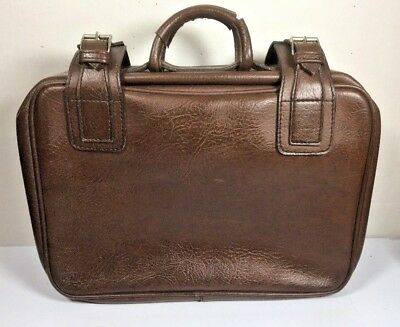 Vintage Pack Easy Swiss Made Brown Leather Effect Suitcase Carry On Bag • 42.91£