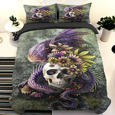 Skull Art Duvet Cover Bedding Set Quilt Cover Pillow Cases Single Double King • 29.99£