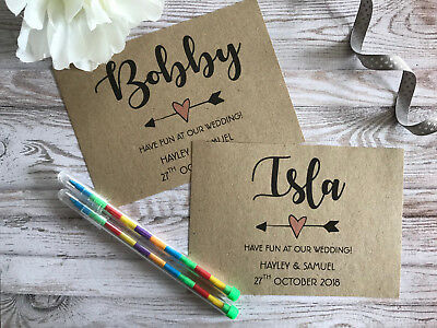 £1.49 • Buy Childrens Personalised A6 Wedding Activity Pack Book Bag Party Gift Text Brown