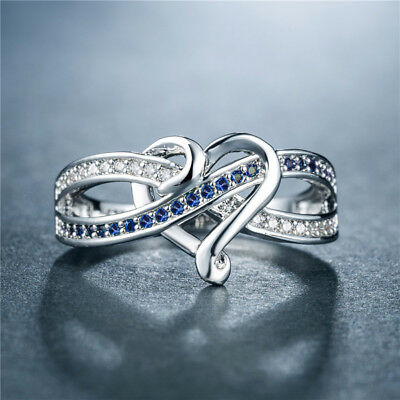 AU3.43 • Buy Romantic Heart Rings For Women 925 Silver Jewelry Blue Sapphire Ring Size 6-10