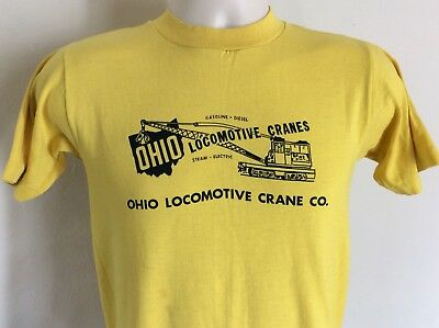 $ CDN25.48 • Buy Vtg 70s Early 80s Ohio Locomotive Cranes T-Shirt Yellow XS/S 50/50 Construction