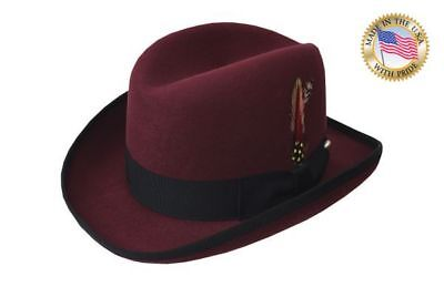 7a43a1bfd5f BORDEAUX GODFATHER Shannon Phillips Burgundy Fedora Homburg Hat NEW  NHT25-45B • 64.95