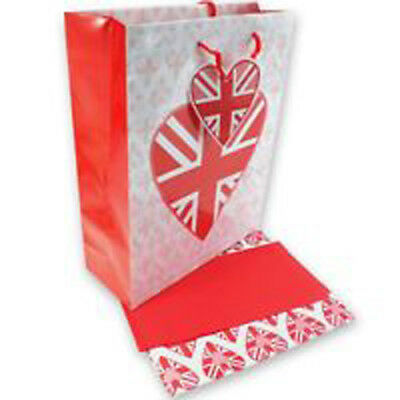 £4.95 • Buy 3pc Heart Gift Bag Set Union Jack Flag Design Tissue & Wrapping Paper Valentine