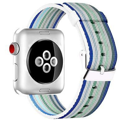 AU16.99 • Buy Blue Stripe Woven Nylon Band For Apple Watch 38mm & 42mm Series 3/2/1