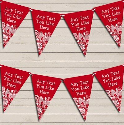 Red Burlap & Lace Wedding Day Married Bunting Garland Personalised Flag Banner • 6.79£