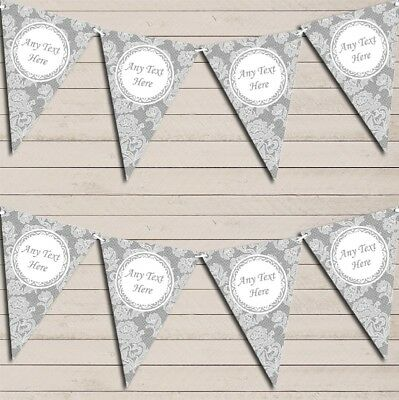 Lace Pattern Grey Wedding Day Married Bunting Garland Personalised Flag Banner • 7.79£