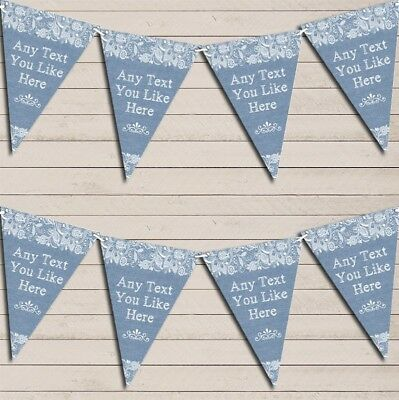 Pretty Lace Blue Wedding Day Married Bunting Garland Personalised Flag Banner • 7.79£