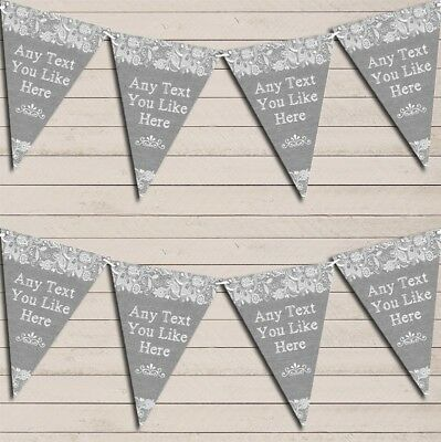 Pretty Lace Grey Wedding Day Married Bunting Garland Personalised Flag Banner • 6.79£