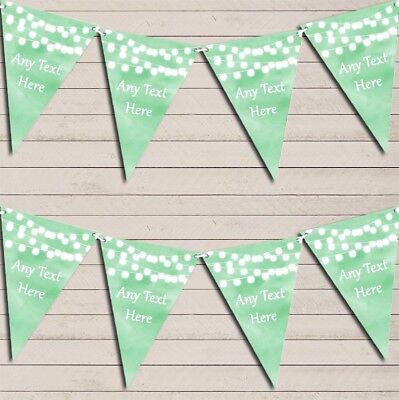 Green Watercolour Lights Wedding Day Married Bunting Garland Flag Banner • 6.79£