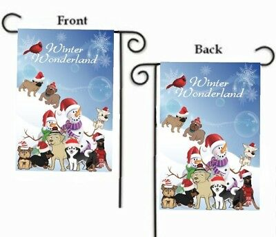 $10.98 • Buy DOGS WINTER WONDERLAND PUPPIES With CARDINAL 2-SIDED YARD GARDEN FLAG 12  X 18