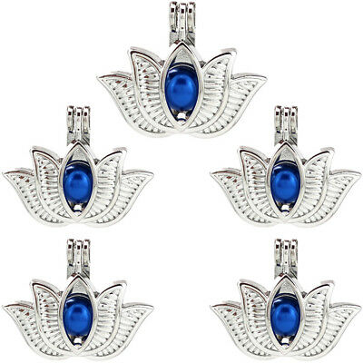 $ CDN6.76 • Buy 5X-K846 Sliver Color Charm Diffuser Lotus Flower Beads Pearl Cage Pendant