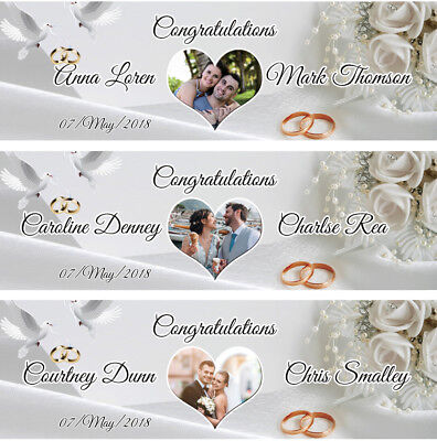 2 Personalised Wedding Engagement Banner Photo Party Poster Just Married Couple • 15.49£
