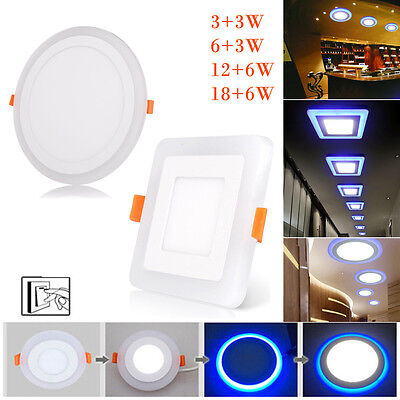 £8.62 • Buy Dual Color White RGB LED Ceiling Light Fans Recessed Panel Downlight Spot Lamp