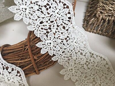 Stunning 3 /7.5cm Ivory Cream Guipure Flower Edge Lace Trim.Crafts/Bridal/Sewing • 2.25£