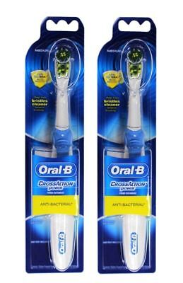 AU22.50 • Buy 2 X ORAL-B POWER TOOTHBRUSH CROSS ACTION ANTI-BACTERIAL MEDIUM 100% Brand New