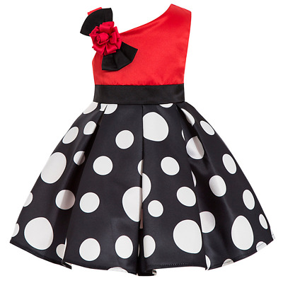 Kids Skirts Toddlers Polka Dot Girls One Off Shoulder Dress For 2-8 Years • 14.46£