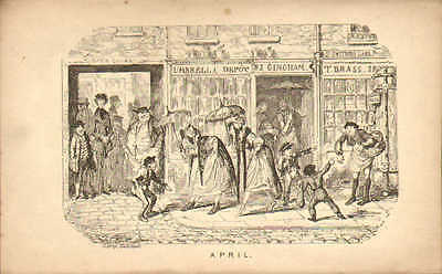 George Cruikshank Print 1835 : April - St Swithins Lane Scene London • 18£