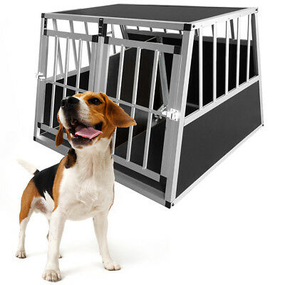 View Details Metal Dog Kennel Heavy Aluminum Double Door Pet Cage Run Crate Carrier Travel UK • 58.95£