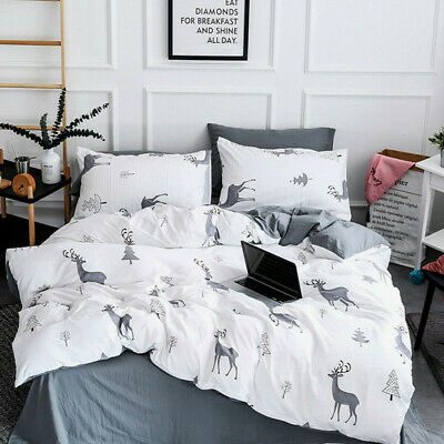 AU41.99 • Buy White Deer Doona Quilt Duvet Covers Set Single/Double/Queen/King Size Bedding