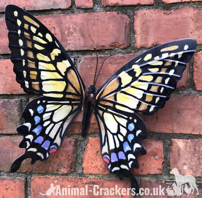 Large 35cm Yellow Metal Butterfly Garden Ornament Wall Art Decoration, Boxed • 12.95£