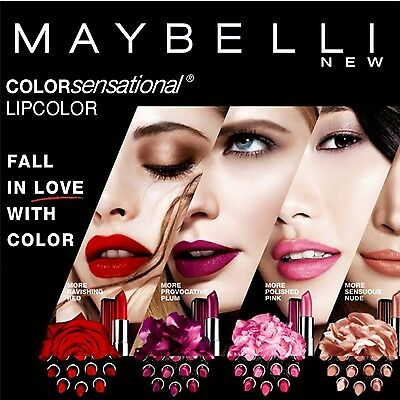 MAYBELLINE Color Sensational Lipstick CHOSE From 60 SHADE - NEW FREE PP • 3.69£
