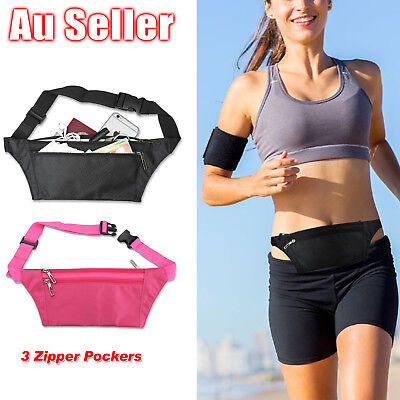 AU7.95 • Buy Running Hiking Sport Bum Bag Travel Phone Money Fanny Pack Waist Belt Zip Pouch