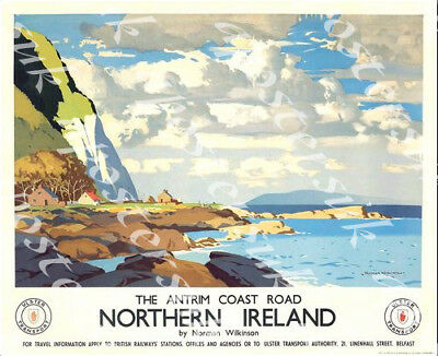 £5.13 • Buy Vintage The Antrim Coast Road Northern Ireland Transport Poster Print A3/A4