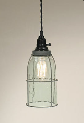 $52.99 • Buy Half Gallon Caged Mason Jar Pendant Lamp Country Rustic Open Bottom Clear Glass