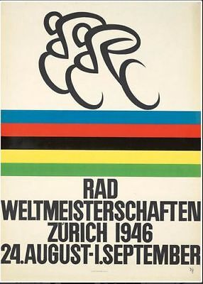 £5.13 • Buy Vintage 1946 Cycling World Championships Zurich Poster Print A3/A4
