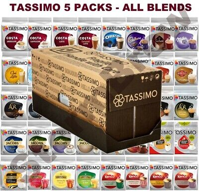 £24.99 • Buy 5 PACKS Of TASSIMO PODS (COFFEE, TEA, HOT CHOCOLATE T-DISCS CAPSULES) 50+ BLENDS