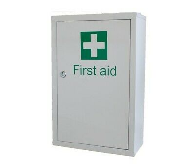 Lockable Secure First Aid / Medicine Cabinet Metal Wall Mounted With Shelves • 29.90£
